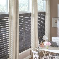 Installed Curtains and Drapes over Plantation Shutters in Nashville Homes