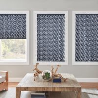 "1"" Pleated Shades with Cordless Lift: Muse, Navy Mosaic 4130 with Privacy Liner 8000"