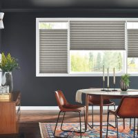 "2"" Pleated Shades with Bottom Up/Top Down and Cordless Lift: Debonair, Haberdasher Gray 3220 with Liner"
