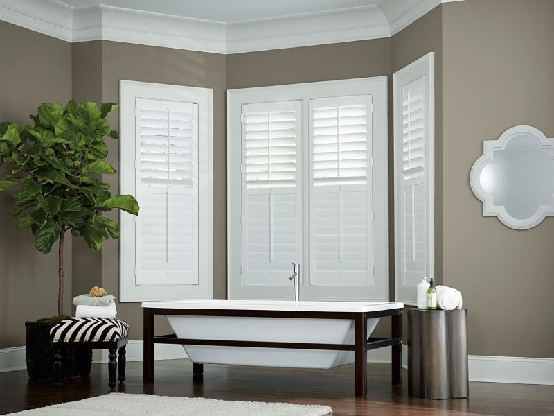 Plantation Shutters used as window coverings in bathroom